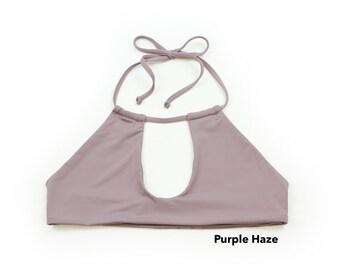 Black Seamless Keyhole Halter Bikini Top, Swimwear, Swimsuit, Bathing Suit, Bikini Top, Black Top, Sexy Bikini Top