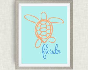 Florida Art Print, Loggerhead Turtle, State Symbol,option of gold foil