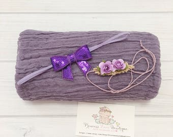 SALE! 3pcs set Lilac Newborn Cheesecloth Wrap Set with Flower Headband Photography Prop 3ft x 4ft  *GRADE 60*