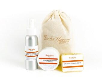 Orange ginger Travel Size Products, Travel Soap, Travel Aromatherapy Spray, Travel Size Body Lotion, Travel Gift Set