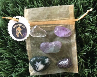 Aquarius Zodiac Healing Crystals Pouch - Air sign - Birthday Gifts - January - February - tumbled crystals - Reiki charged