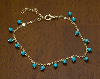 Gold Plated Turquoise Bead Anklet