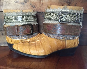 Hornbeck crocodile upcycled western cowboy boots women's size 7