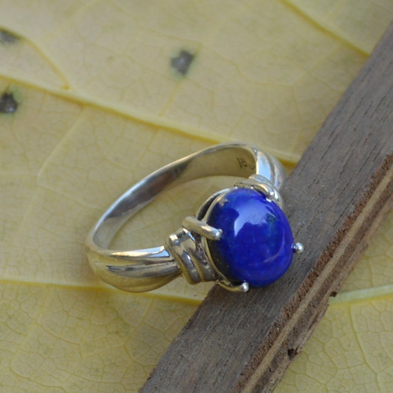 Natural Lapis Lazuli Ring, Oval Cabochon Blue Ring, Designer Bezel set in 925 Sterling Silver Ring, Semi Precious Stone Ring Size 7