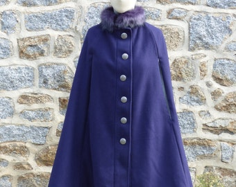 Together winter cloak and hat purple wool.