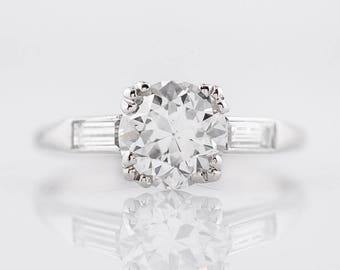1920's Engagement Ring Art Deco GIA 1.49 Round Brilliant Cut Diamond in Platinum