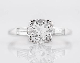 1920's Engagement Ring Art Deco GIA 1.49 Round Brilliant Cut Diamond in Platinum