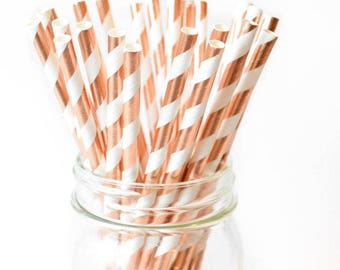 25pc Paper Straws Rose Gold and white