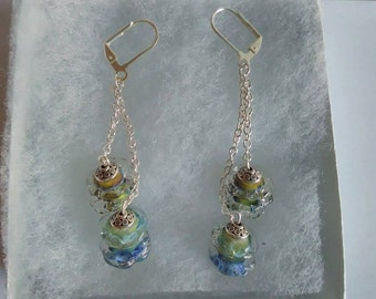 Blues and Greens Lampwork Earrings