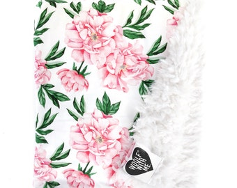 Baby Blanket White Peonies // Additional Colors, Faux Fur Blanket, Floral Baby Blanket, Organic Blanket, Crib Bedding, Toddler Blanket, Girl