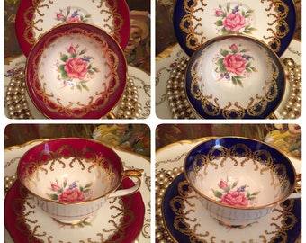 2 sets of Aynsley Red & blue Tea cups and saucers