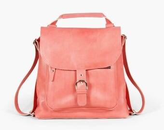 Benjamin Coral - Pink backpack transformer / Pink leather backpack / Pink leather bag /Pink leather purse / Pink bag / Leather backpack