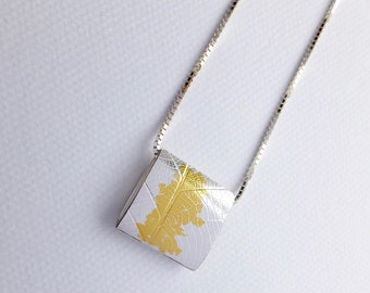 Silver and gold Keum Boo pendant
