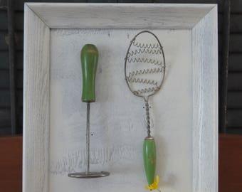 Pair of Framed Vintage Green Handled Kitchen Utensils. Wire Spoon, Spiral Masher, Kitchen Art, Upcycled, Kitchen Decoration, Wall Art