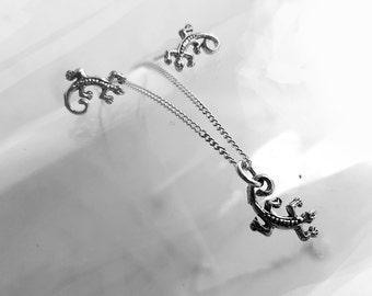 Tiny Gecko Jewelry Set, Sterling Silver, Lizard Necklace Stud Earrings, 925 Silver, Animal Jewelry, Small Pendant Necklace, Little Earrings