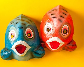 Traditional Mexican paper mache mask fish