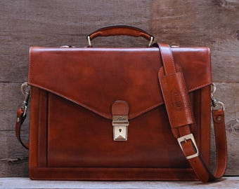 Ponza Leather Briefcase, Laptop Bag, Men's Leather Briefcase, Handbag, Messenger, Floto Leather Bag (2006BROWN)