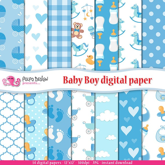 Baby Boy Digital Paper Its A Boy Patterns Newborn Scrapbook Paper Adorable Boy Patterns