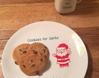 Cookies for Santa plate and mug set, milk for santa set, personalized Santa's cookies plate