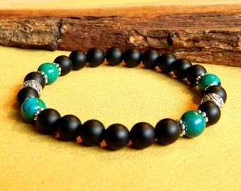 Men Bracelet agate and crhysocolle stones and silver antique ethnic style
