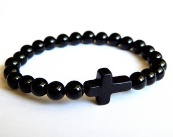 Bracelet Men agate stone beads with one cross