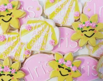 1 dozen you are my sunshine themed sugar cookies!