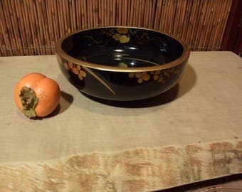Vintage Japanese Black Gold Lacquer Bowl With Peonny Flowers