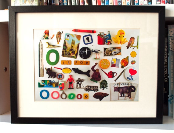 Limited Edition Alphabet Collage Print With Mount: O Is For... Original, Vintage-Themed, Unframed