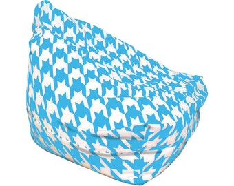 bean bags kids teens adult size large floor cushion blue retro decor houndstooth - Childrens Bean Bag Chairs