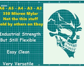 Tattoo style SKUL STENCIL Tattoo StyleTough Reusable 350 Micron Material Various Sizes  #T021