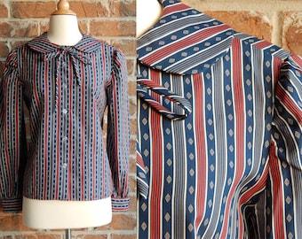 Womens Vintage Secretary Blouse/Size Medium/Lightweight Blouse/Navy and Red Stripe Blouse/Handmade/Long Sleeve Blouse/Peter Pan Collar