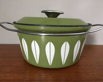 "Mid Century Cathrineholm Norway Green Lotus 8.75"" Pot with Lid"