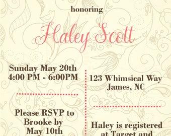 Whimsical Bridal Shower Invitation- Classy Shower Invitation - Bridal Shower - Wedding Shower Invitation - Digital Invite - Bridal Shower