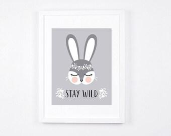Stay Wild Bunny Nursery Art Print, Woodland Crown Bunny Printable Art, Peach and Grey Scandinavian Nursery, Rabbit Instant Download Decor