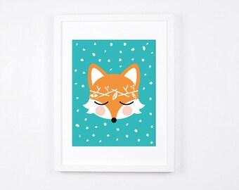 Fox Art Illustration, Printable Art for Boys Nursery, Turquoise Little Boys Room Decor, Modern Nursery Decor, Woodland Wreath, Foxes