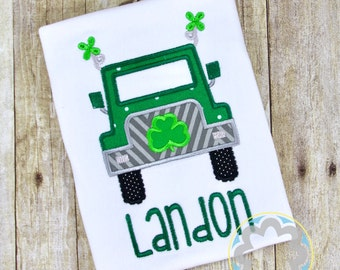 Lucky St Patricks Day - St Patty's Day - 4 Leaf Clover Jeep - Truck - Monogrammed, Personalized Shirt