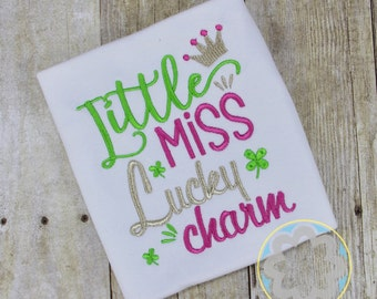 St Patricks Day - St Patty's Day - Little Miss Lucky Charm Monogrammed Shirt