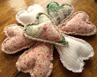 Shabby Heart Pillow Bowl Fillers, Shabby Valentine Decor, Set of 7 Shabby Hearts, Stuffed Heart Basket Fillers, Ready to Ship