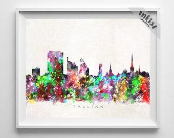 Tallinn Skyline, Print, Estonia Poster, Tallinn Wall Art, Watercolor Painting, Cityscape, Giclee Art Print, Home Decor, Dorm Decor