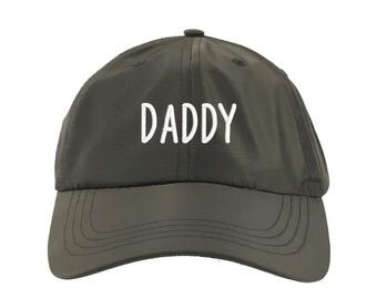DADDY Satin Dad Hat, Embroidered Father's Baseball Cap 90s Style Hat, Olive Green