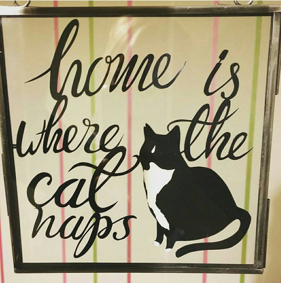 Cat naps sign - customised cat hanging frame - papercut - hand drawn -