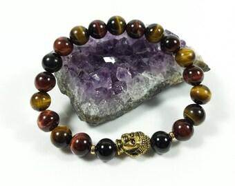 Tiger Eye & Black Tourmaline Bracelet -14k Gold Filled Beads,Grade A,8mm, Men's Tiger Eye, Women's Tiger Eye, Tiger Eye Bracelet,For Him