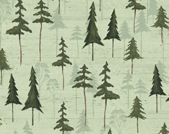 Green Tree Fabric Fabric, Windham Wild Woods 41123 3 Daphne B, Woodland Trees Quilt Fabric, Forest Fabric, Evergreens, Woods Fabric, Cotton