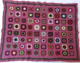 Baby granny crochet woollen cover / rose