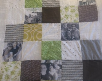 Leaving home gift.Graduation Gift. King Queen Single Size Pattern Quilt. End of year gift Gift. Photo Patchwork Quilt.Sofa Quilt. Teacher g