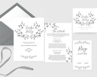 INSTANT Download Printable Wedding Invitation & RSVP Stationary Set Template  / Quick DIY Editable Yourself / Word / Mac and Pc