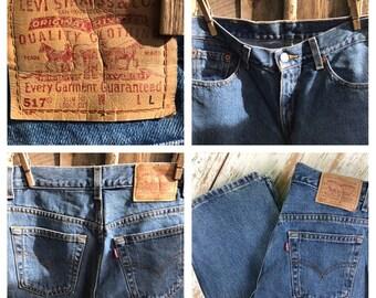 Vintage Levis / 517 / slim fit / straight leg / red tab / 30 x 34 / 90's Levis / long / Levis jeans waist 30