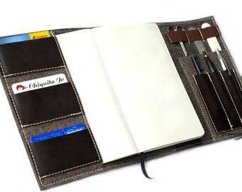 Organizer calendar notebook wool felt & leather, Brown