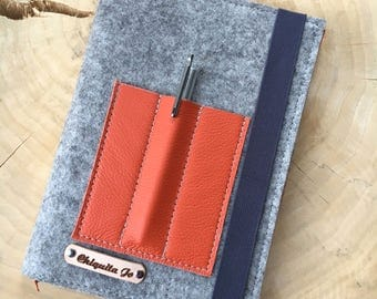 Calendar book cover from wool felt & leather · GREY/ORANGE