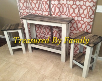 Primitive Distressed white with Barnwood top Hall table and End table set